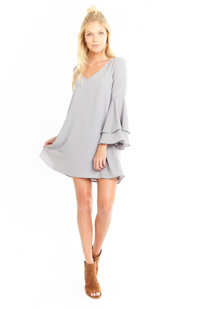 Grey Flared long sleeve Juliet Dress