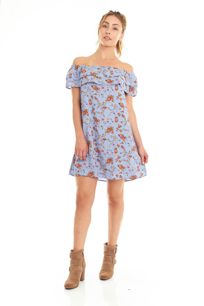 Blue Floral Off the Shoulder Dress, Dresses