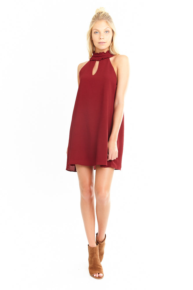 Red Wine Mock Neck Ruffle Dress