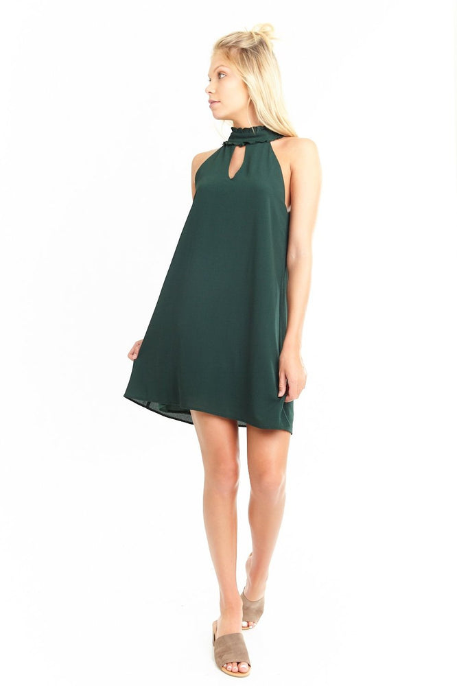 Hunter Green  Keyhole Shift Dress