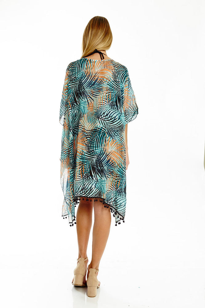 Teal Tropical Cover-up with Pom Pom Detail, Tops