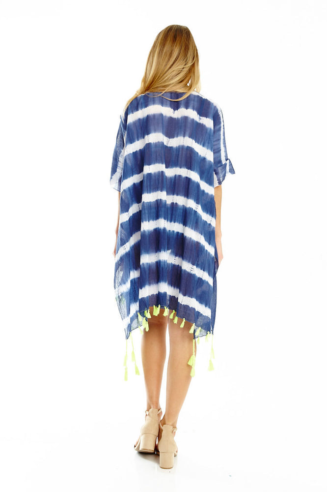 Indigo Tie Dye Cover Up with Tassel Detail, Tops