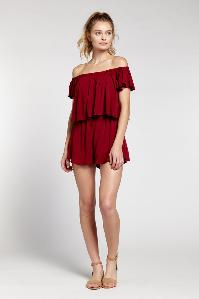 Maroon Off Shoulder Ruffle Trim Romper