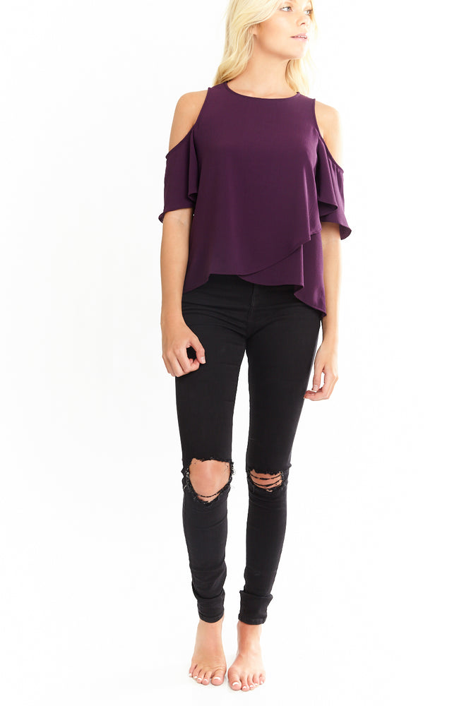 Purple Cold Shoulder Cross Ruffle Top, Tops
