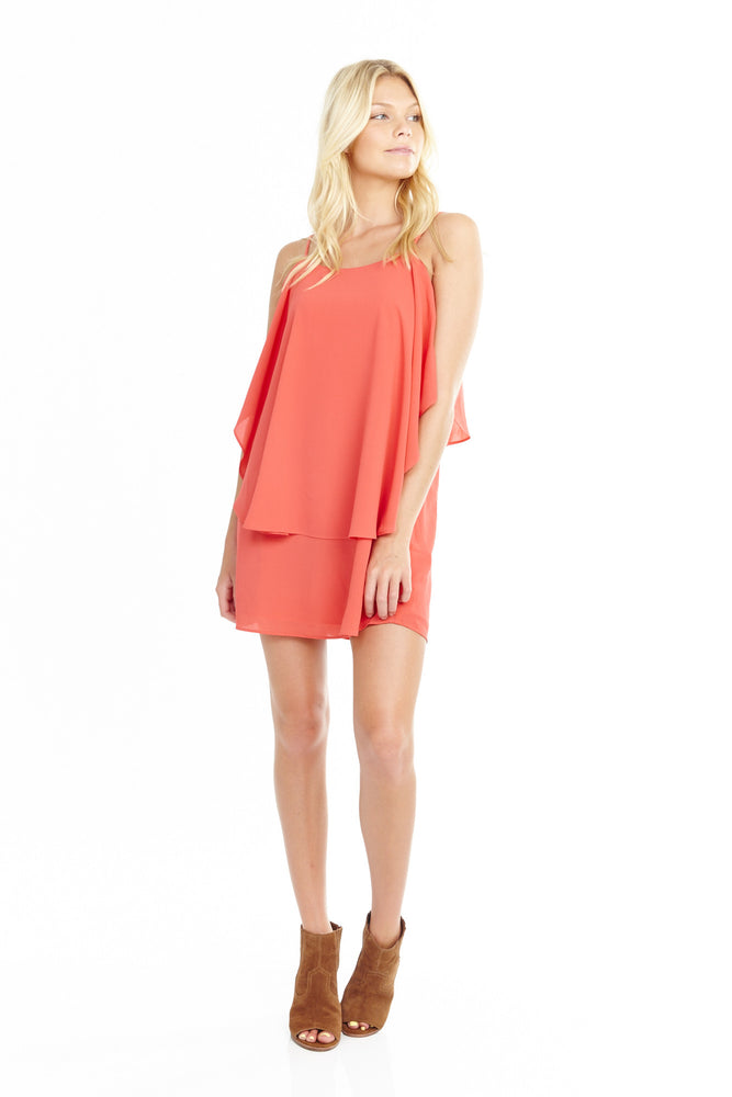 Cape Layer Dress in Coral