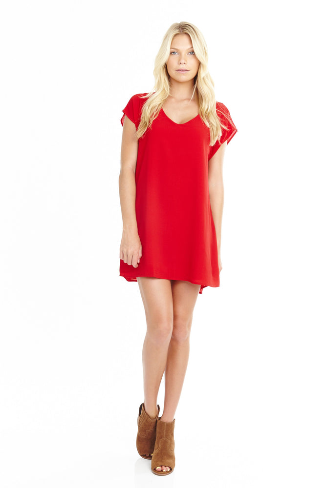 Red Tunic Short Sleeve Dress