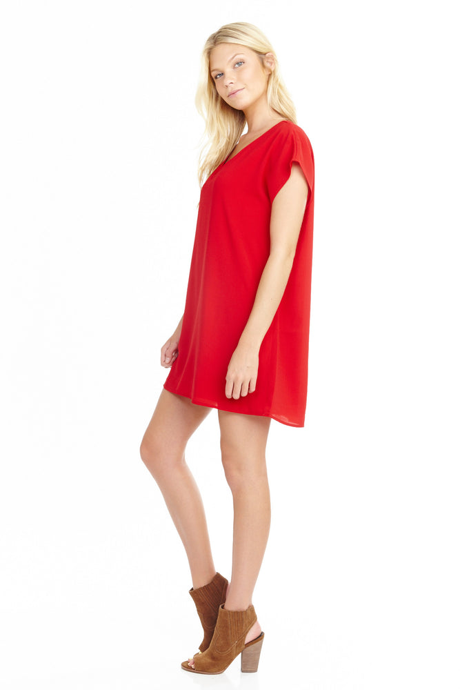 Red Tunic Short Sleeve Dress, Dresses