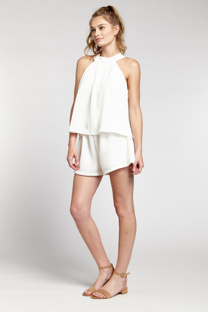 Off White Sleeveless Double Layer Romper