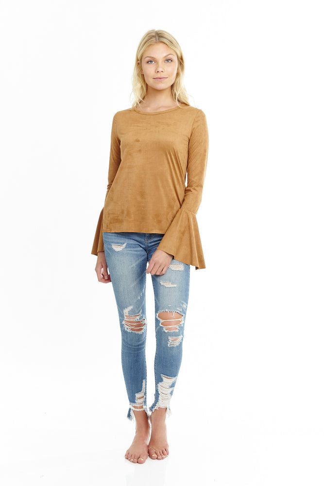 Suede Camel Bell Sleeve Blouse, Tops