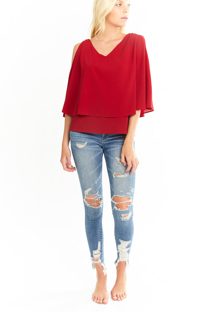 V Neck Overlay Blouse in Red, Tops