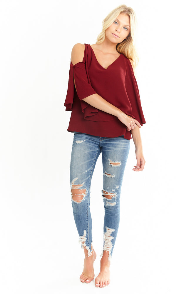 Maroon V Neck Overlay Blouse, Tops