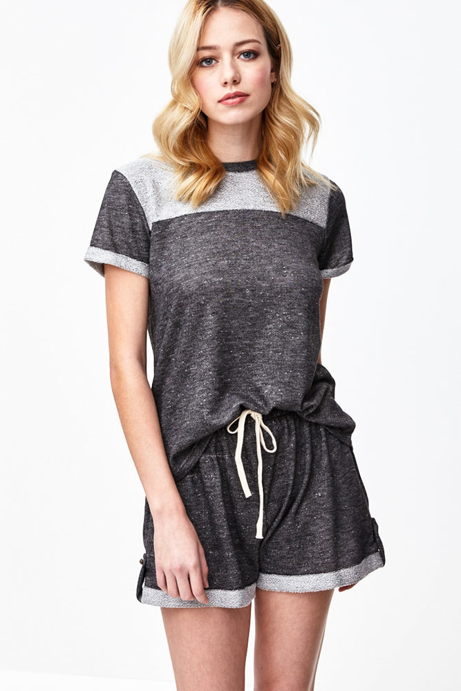Charcoal French Terry Top, sale