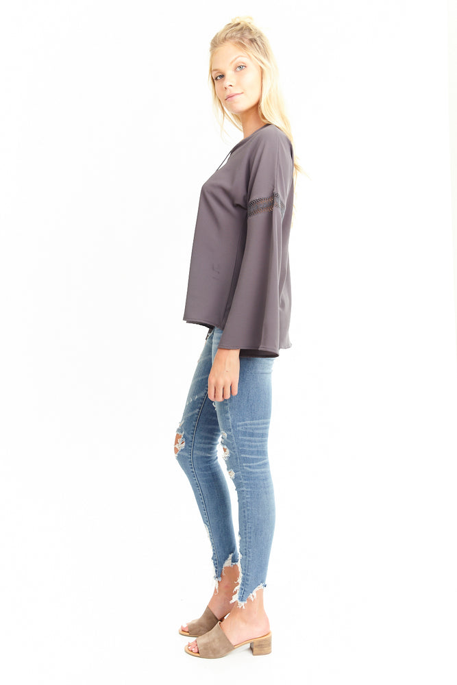 Long Sleeve Lace up Blouse, Tops