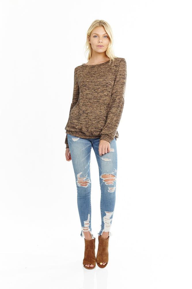 Camel Long Sleeve Knit Sweater, Tops