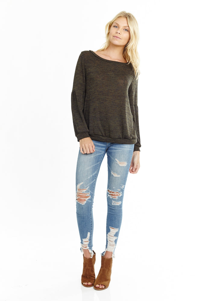 Olive Knit Sweater, Tops