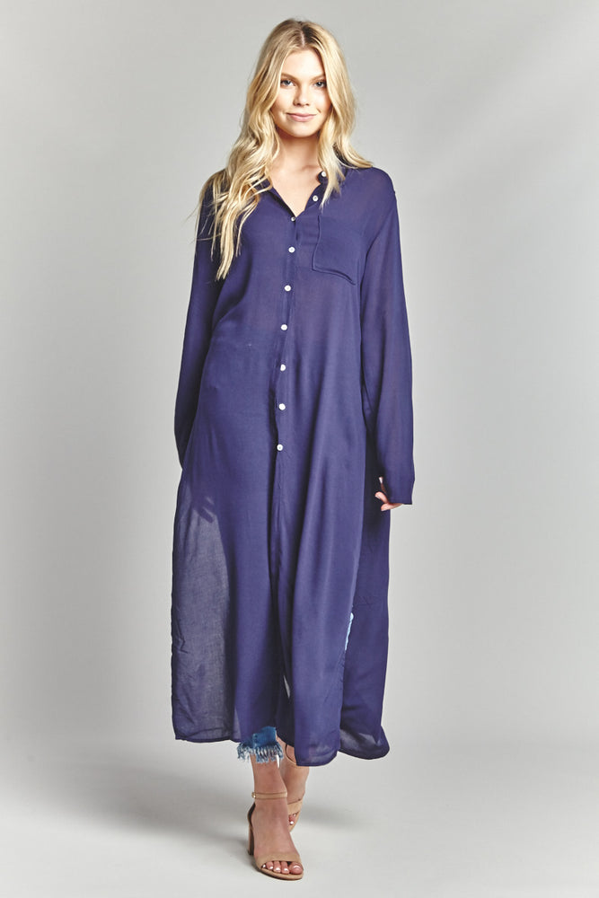 Navy Button Up Duster