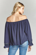 Navy Off the Shoulder Blouse, Tops