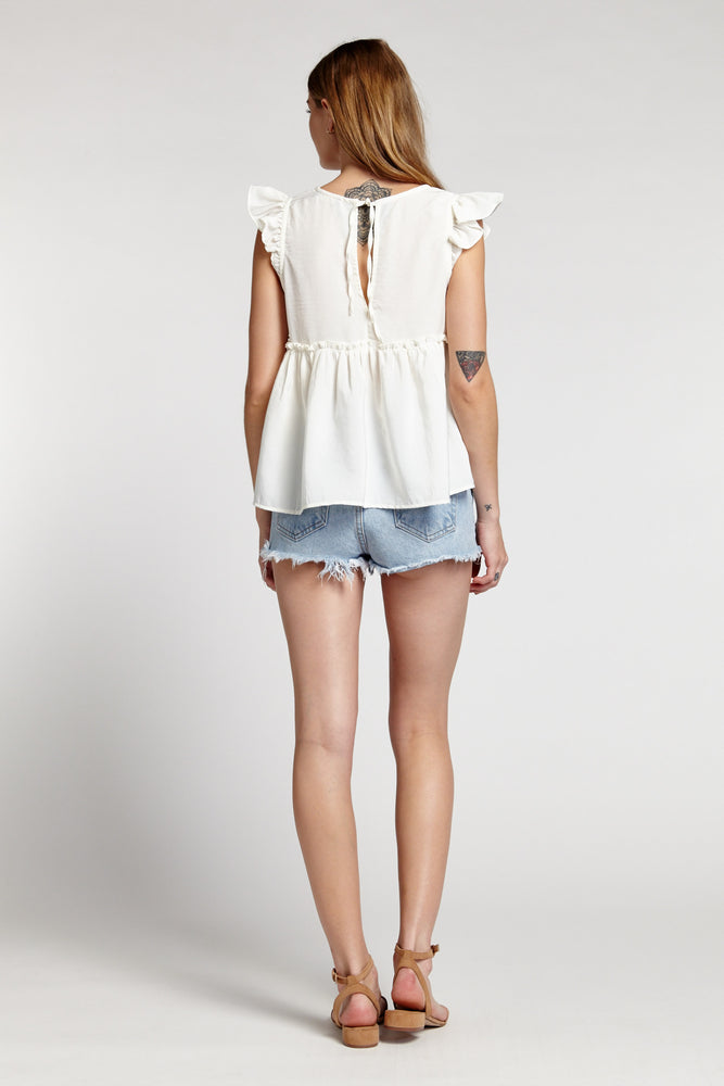 Off White Sleeveless Ruffle Babydoll Top