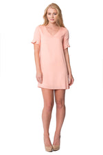 Ruffle Short Sleeve Dress in Peach, Dresses