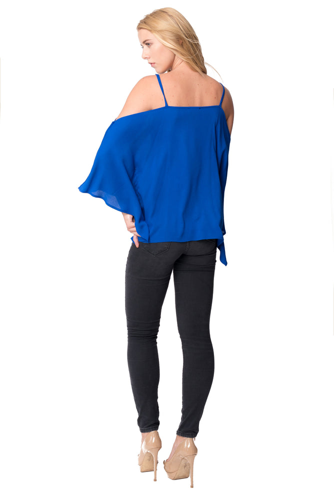 Cold Shoulder Swing Blouse in Royal, Tops