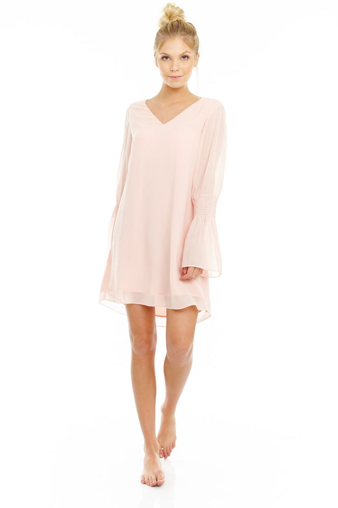 Blush Flared Sleeve Dress, Dresses