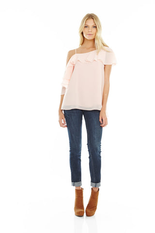 Blush One Shoulder Tie Blouse, Tops