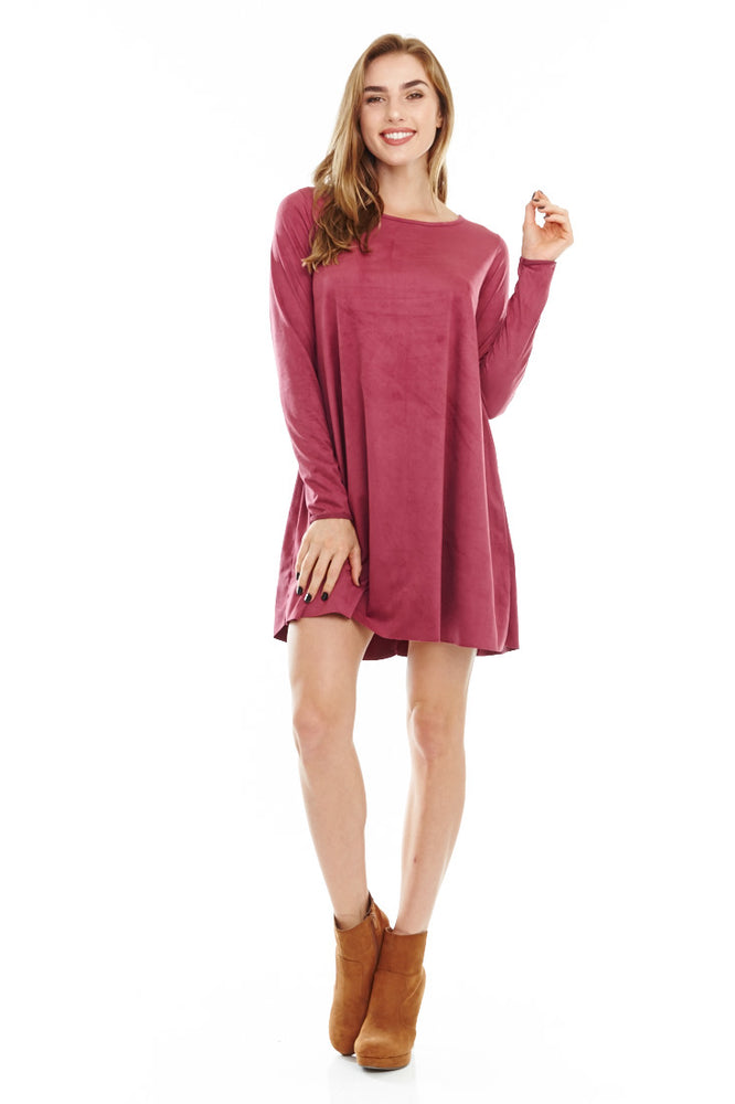 Long Sleeve Suede Dress