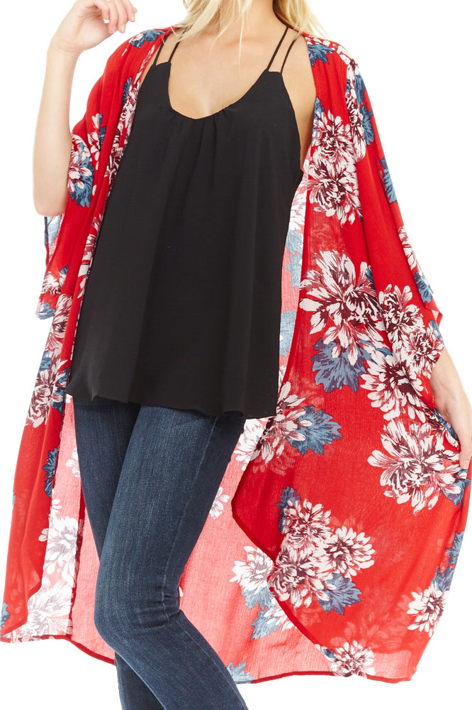 Red Floral Kimono, Tops