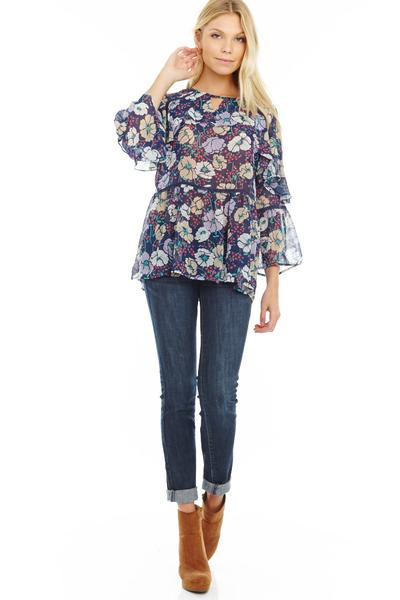 Willow Navy Ruffle Overlay Long Sleeve Blouse Prepack