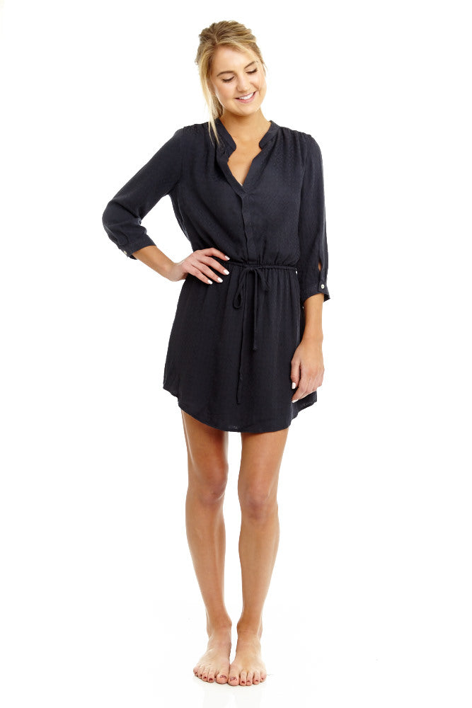Navy Tie Waist Shirt Dress