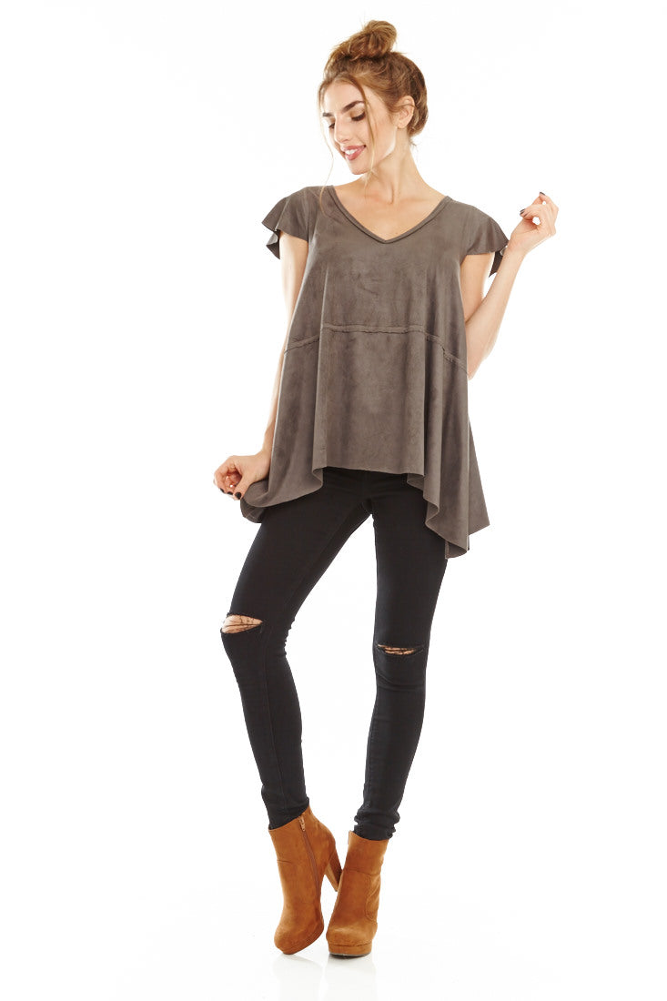 Suede Short Sleeve Blouse, Tops