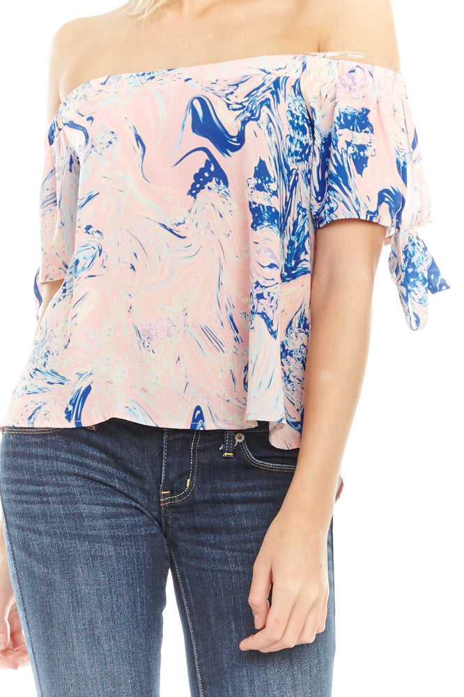 Neon Marble Off Shoulder Blouse, Tops