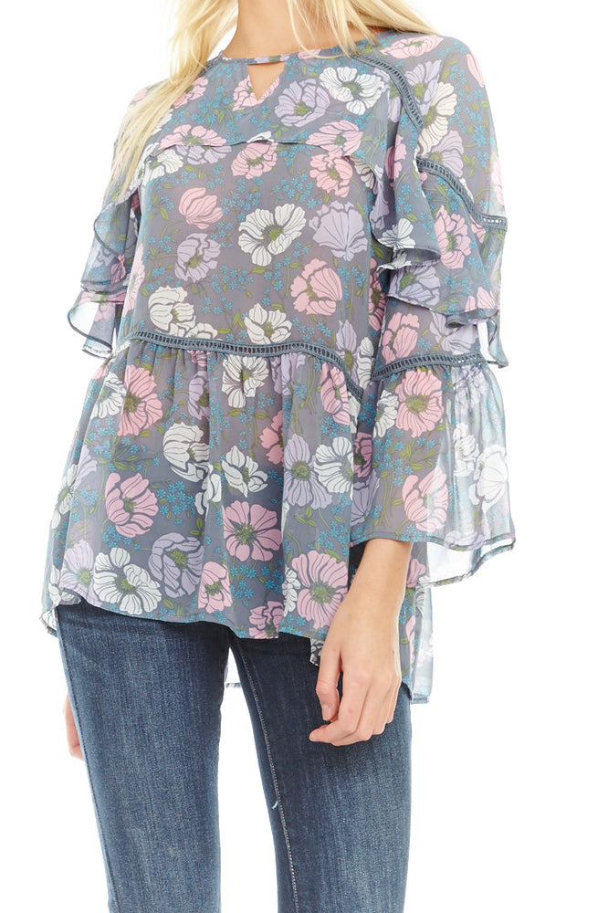 Willow Grey Tiered Blouse, Tops