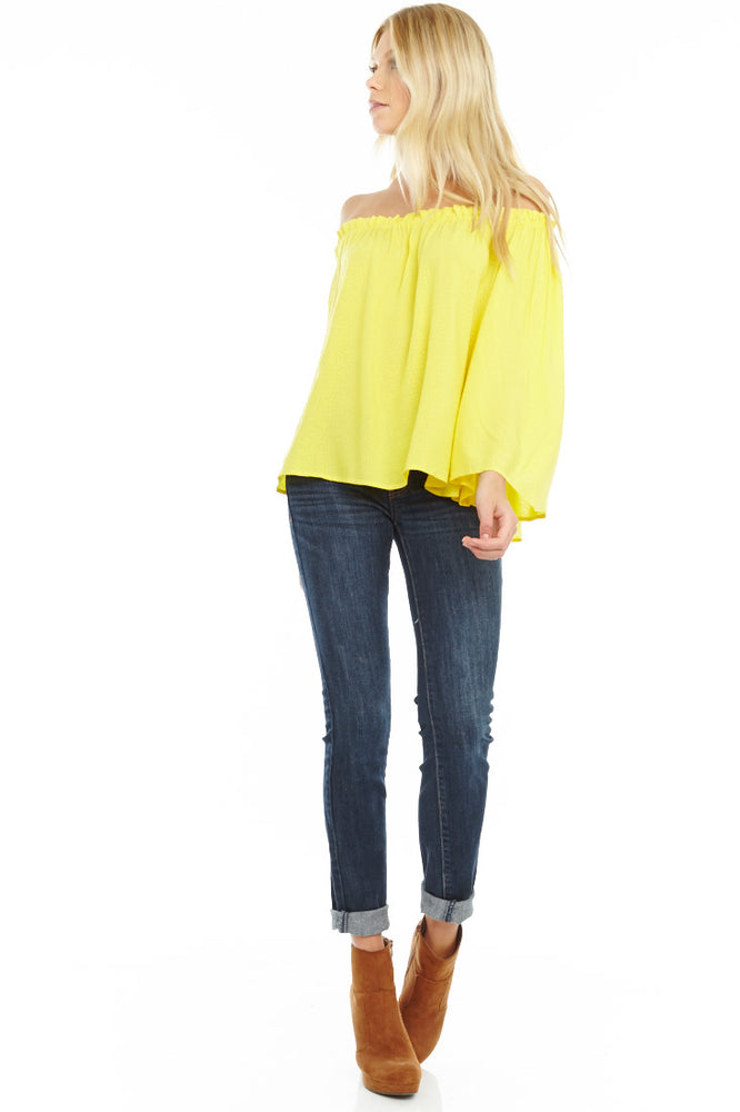 Yellow Off The Shoulder Blouse, Tops