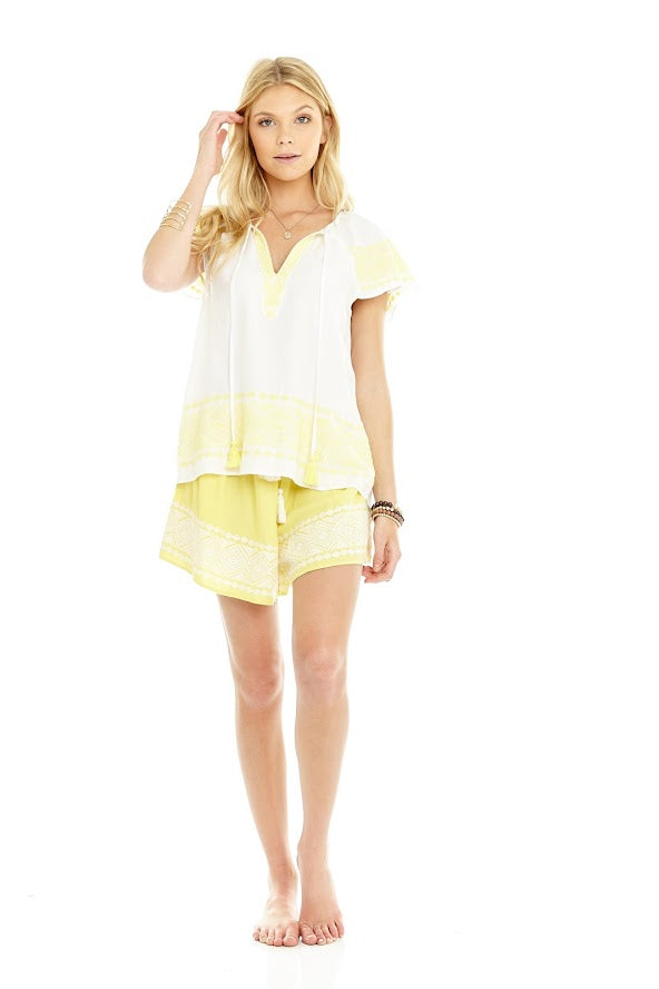 white/ yellow Mer + Lune Embroidered Capsleeve Blouse