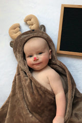 Chocolate Moose Hooded Blanket