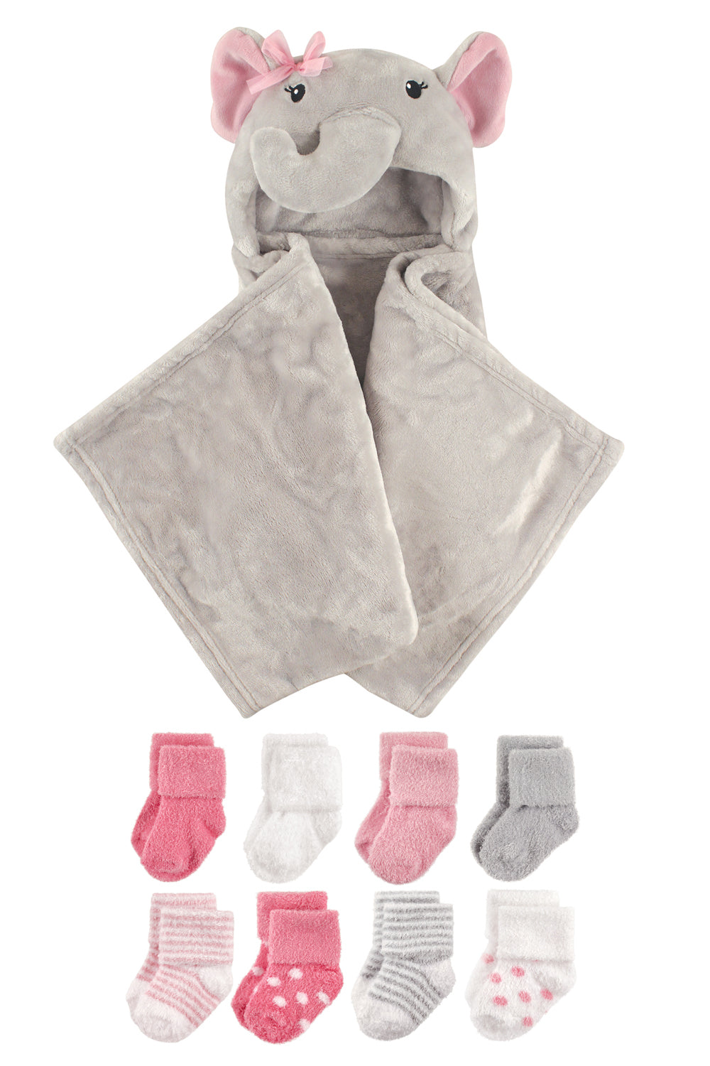 Baby Girl Elephant Hood and Socks Set