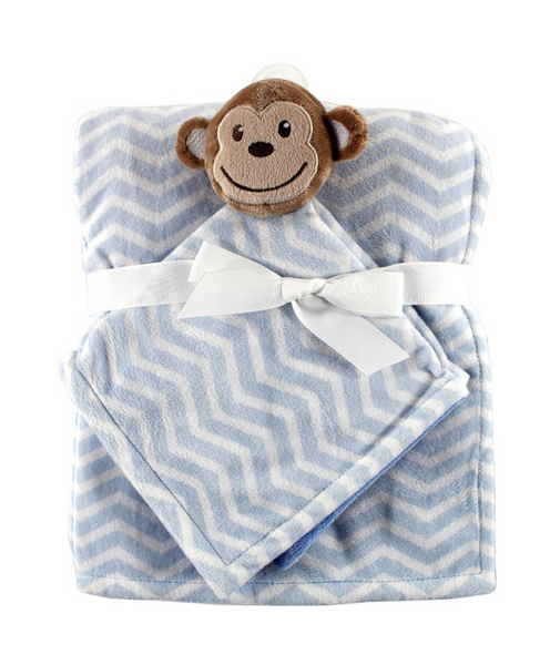 Light Blue Monkey Security Blanket Set