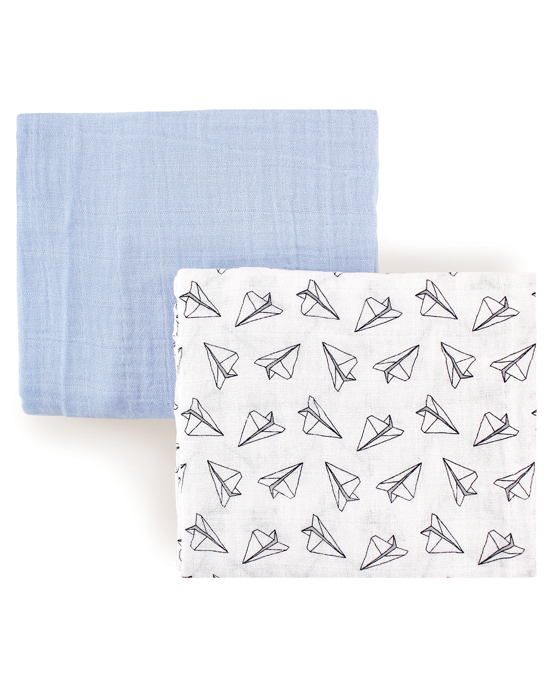 Paper Airplane Muslin Swaddlers, 2 set