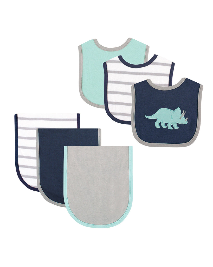 Dino Baby Bib and Burp Cloth, 6-piece