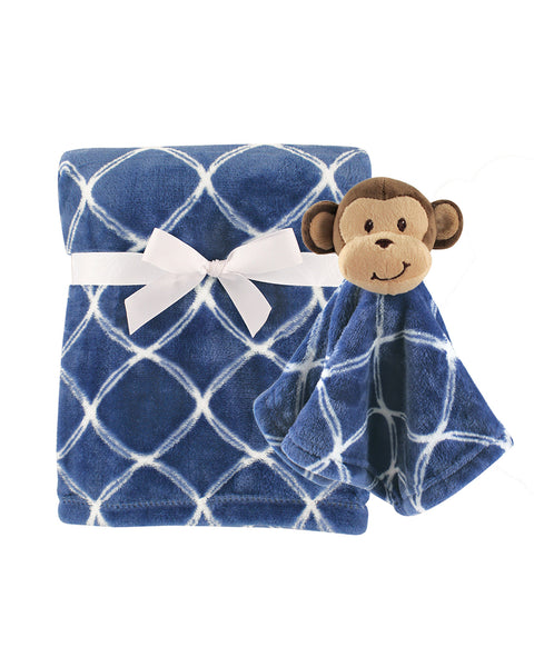 Baby Blue Monkey Security Blanket Set