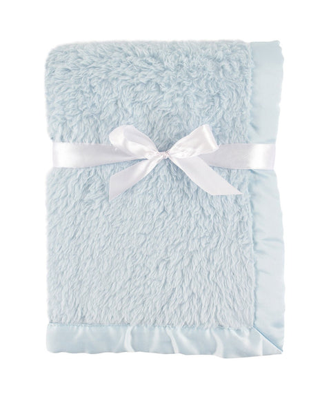 Powder Blue Satin Trimmed Sherpa Blanket