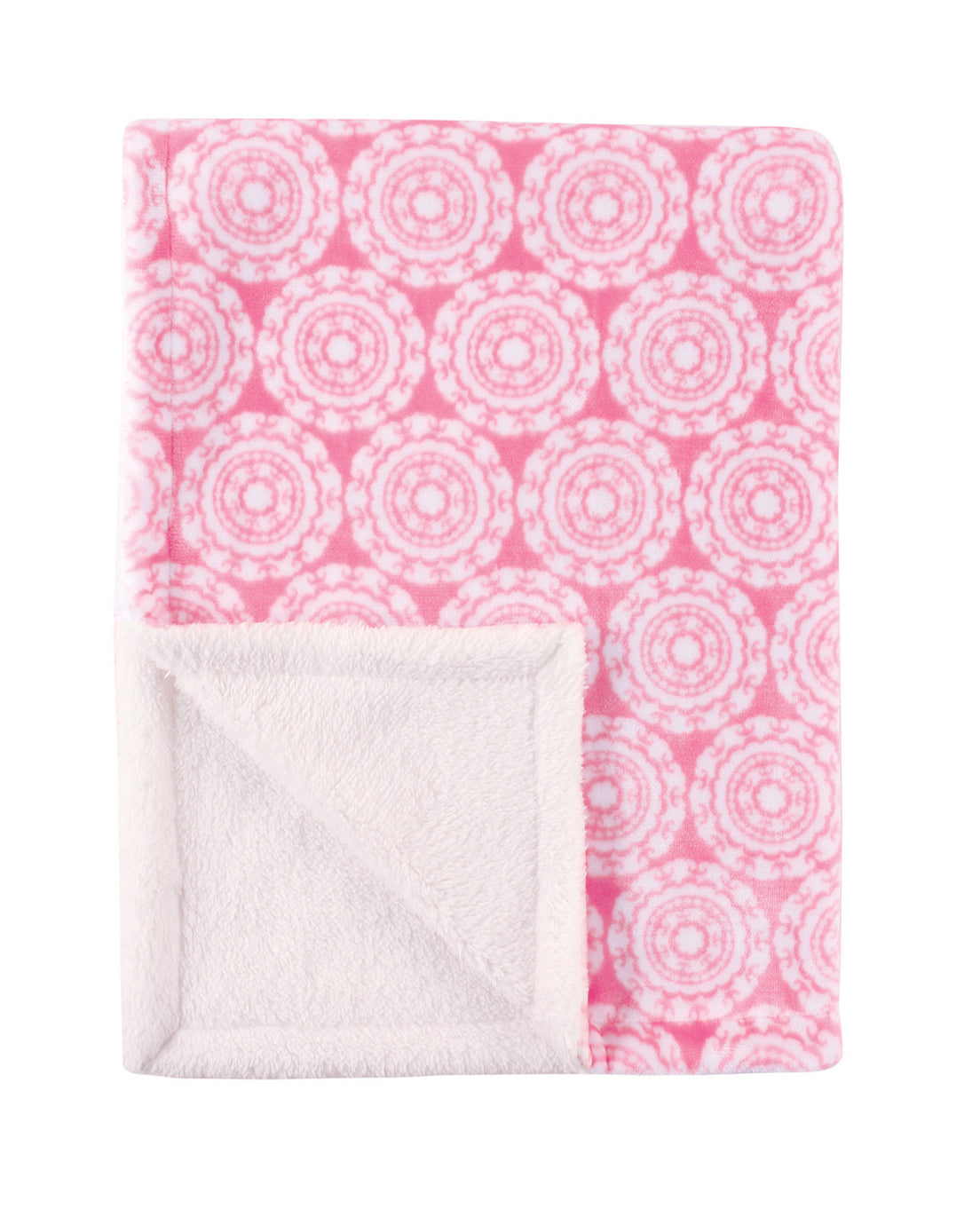 Pink Circle Patterned Double Layered Blanket