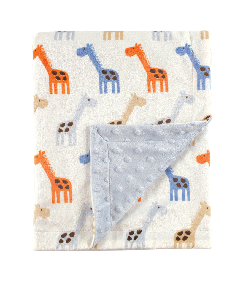 Blue Giraffe Patterned Mink Blanket