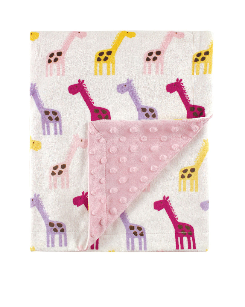 Pink Giraffe Patterned Mink Blanket
