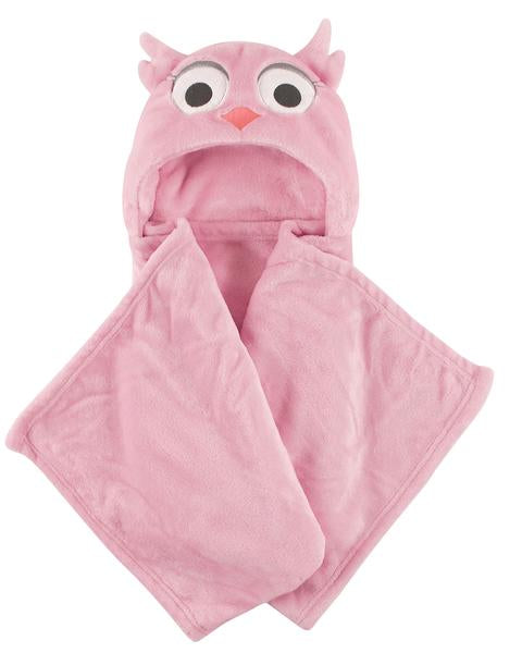 Pretty & Pink Owl Hooded Blanket