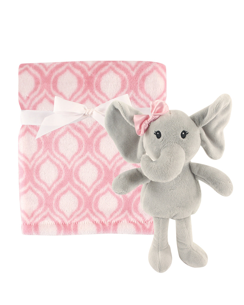 Pink Patterned Blanket and Elephant Snuggle Set