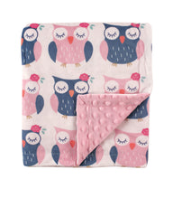 Pink Owl Polka Patterned Mink Blanket