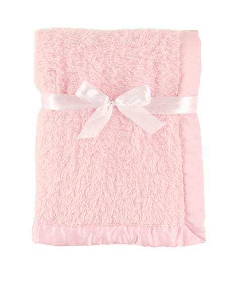 Powder Pink Satin Trimmed Sherpa Blanket