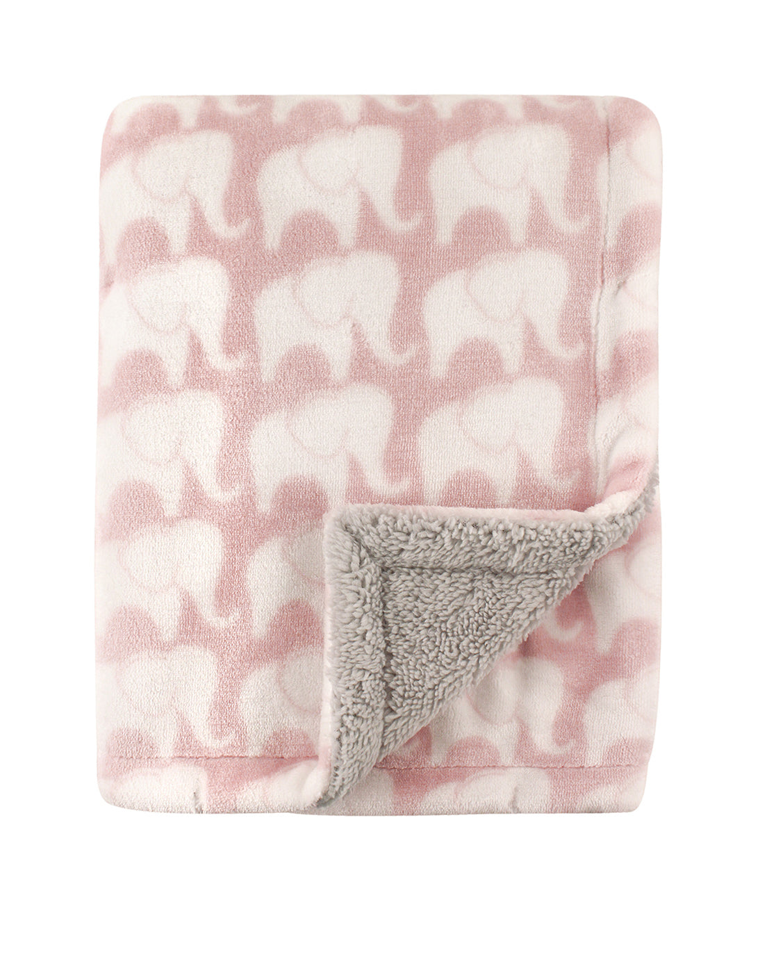 Elegant Elephant Sherpa Backed Blanket